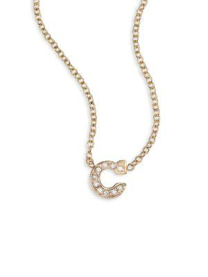 ZoË Chicco PavÉ Diamond & 14K Yellow Gold Initial Pendant Necklace In C