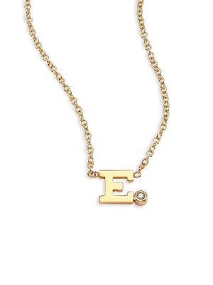 ZoË Chicco Diamond & 14K Yellow Gold Initial Pendant Necklace In E