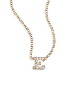 ZoË Chicco PavÉ Diamond & 14K Yellow Gold Initial Pendant Necklace In E