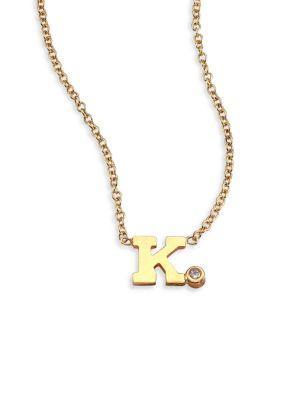 ZoË Chicco Diamond & 14K Yellow Gold Initial Pendant Necklace