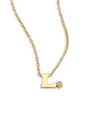 ZoË Chicco Diamond & 14K Yellow Gold Initial Pendant Necklace In L