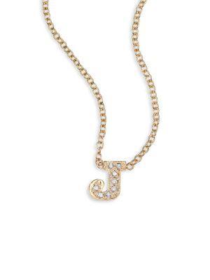 ZoË Chicco PavÉ Diamond & 14K Yellow Gold Initial Pendant Necklace In J