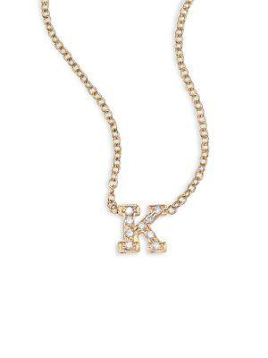 ZoË Chicco PavÉ Diamond & 14K Yellow Gold Initial Pendant Necklace