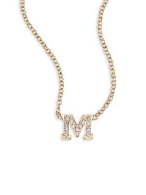 ZoË Chicco PavÉ Diamond & 14K Yellow Gold Initial Pendant Necklace In M