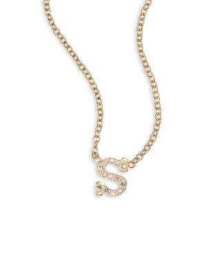 ZoË Chicco PavÉ Diamond & 14K Yellow Gold Initial Pendant Necklace In S