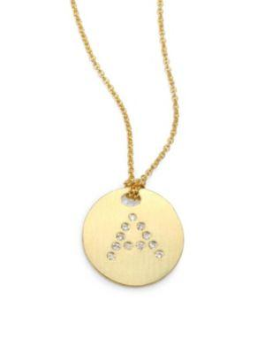 Roberto Coin Tiny Treasures Diamond & 18K Yellow Gold Initial Pendant Necklace In A