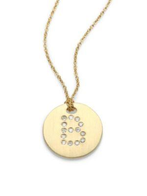 Roberto Coin Tiny Treasures Diamond & 18K Yellow Gold Initial Pendant Necklace In B