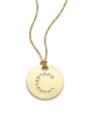 Roberto Coin Tiny Treasures Diamond & 18K Yellow Gold Initial Pendant Necklace In C