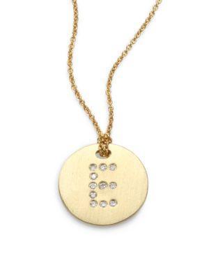 Roberto Coin Tiny Treasures Diamond & 18K Yellow Gold Initial Pendant Necklace In E