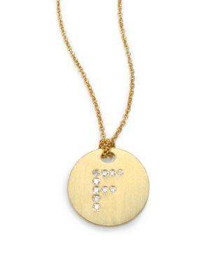Roberto Coin Tiny Treasures Diamond & 18K Yellow Gold Initial Pendant Necklace In F