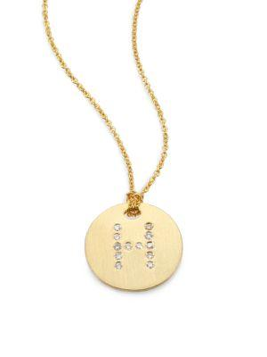 Roberto Coin Tiny Treasures Diamond & 18K Yellow Gold Initial Pendant Necklace In H
