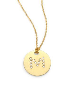 Roberto Coin Tiny Treasures Diamond & 18K Yellow Gold Initial Pendant Necklace In M