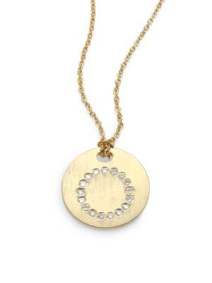 Roberto Coin Tiny Treasures Diamond & 18K Yellow Gold Initial Pendant Necklace In O