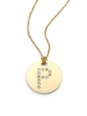Roberto Coin Tiny Treasures Diamond & 18K Yellow Gold Initial Pendant Necklace