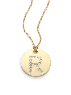 Roberto Coin Tiny Treasures Diamond & 18K Yellow Gold Initial Pendant Necklace In R