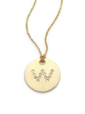 Roberto Coin Tiny Treasures Diamond & 18K Yellow Gold Initial Pendant Necklace In W