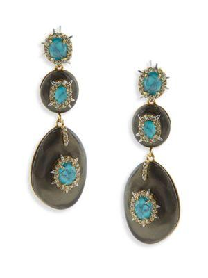 Alexis Bittar Opalescent Crystal & Turquoise Drop Earrings In Ash