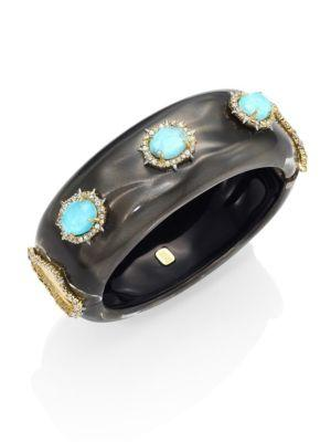 Alexis Bittar Large Lucite & Crystal Liquid Silk Bangle In Ash