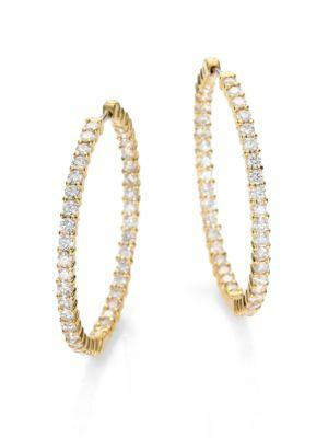 "Roberto Coin Diamond & 18K Yellow Gold Hoop Earrings/2.5"""