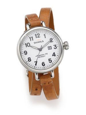 Shinola Birdy Rose Stainless Steel & Leather Double-Wrap Watch In Tan