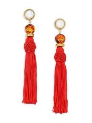 Lizzie Fortunato Jambo Tassel Earrings In Red