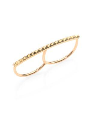 ZoË Chicco 14K Yellow Gold Pyramid Bar Two-Finger Ring