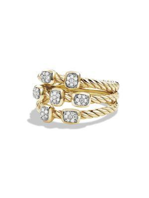 David Yurman Cable Collectibles Confetti Ring With Diamonds In Gold