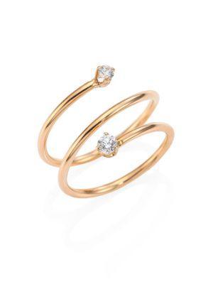 ZoË Chicco Diamond & 14K Yellow Gold Spiral Ring