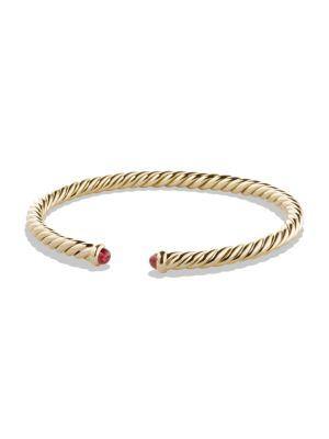 David Yurman Precious Cable Pave Cablespira Bracelet With Rubies In Gold In Ruby