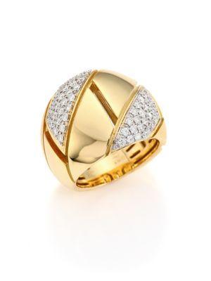 Roberto Coin Gourmette PavÉ Diamond & 18K Yellow Gold Ring