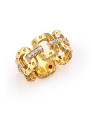 Roberto Coin Pois Moi Diamond & 18K Yellow Gold Chain Band Ring