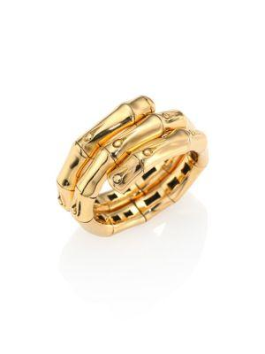 John Hardy Bamboo 18K Yellow Gold Double Coil Ring
