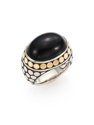 John Hardy Batu Dot Onyx, 18K Yellow Gold & Sterling Silver Dome Ring