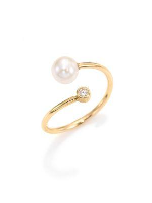 ZoË Chicco Diamond, 6Mm White Pearl & 14K Yellow Gold Bypass Ring