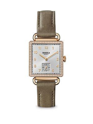 Shinola The Cass Diamond, Mother-Of-Pearl & Goldtone Stainless Steel Leather Strap Watch In Grey