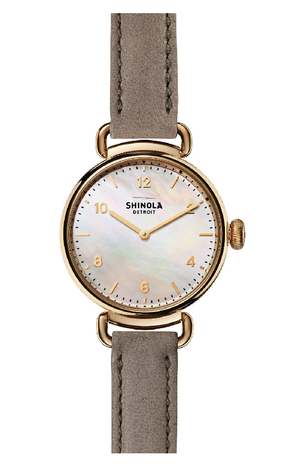 Shinola Canfield Mother-Of-Pearl, Goldtone Stainless Steel & Leather Strap Watch In Grey/ White Mother Of Pearl