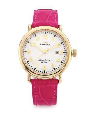 Shinola Runwell Goldtone Stainless Steel & Alligator Strap Watch In Pink