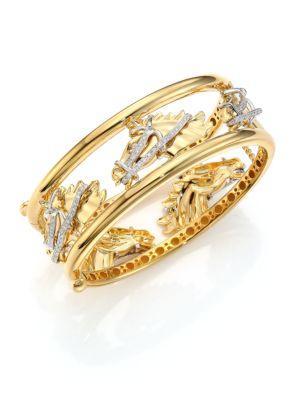 Roberto Coin Cheval Diamond, 18K Yellow Gold & 18K White Gold Bangle Bracelet