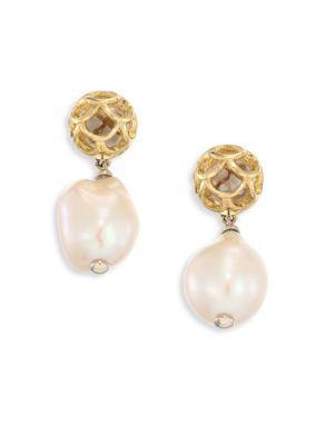 John Hardy Legends Naga 11M White Baroque Pearl & 18K Yellow Gold Drop Earrings