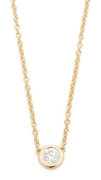 ZoË Chicco 14K Yellow Gold Choker With Diamond Pendant, 14 In Gold/Clear