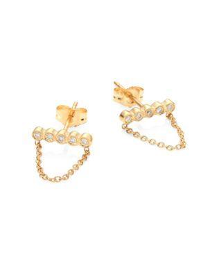 ZoË Chicco Diamond & 14K Yellow Gold Draped Chain Stud Earrings