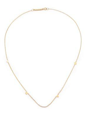 ZoË Chicco Tiny Letters Love 14K Yellow Gold Station Necklace