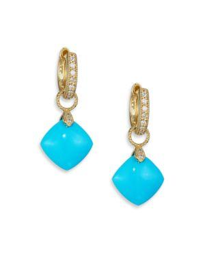 Jude Frances Classic Turquoise, Diamond & 18K Yellow Gold Cushion Earring Charms