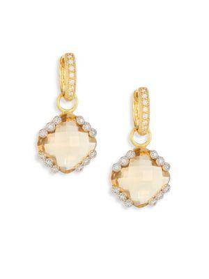 Jude Frances Provence Champagne Citrine & Diamond Earring Charms In Gold