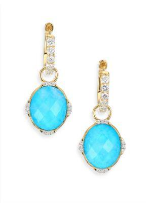 Jude Frances Diamond, Turquoise, Moonstone & 18K Yellow Gold Earring Charms In Blue