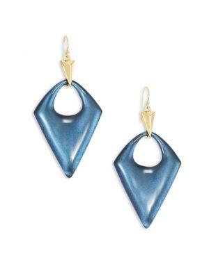 Alexis Bittar Pointed Pyramid Lucite Drop Earrings In Blue