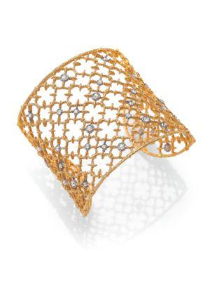 Alexis Bittar Elements Gilded Muse Crystal Studded Lace Cuff Bracelet In Gold