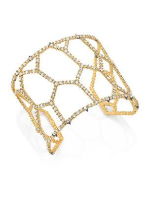 Alexis Bittar Elements Spiked Crystal Honeycomb Cuff Bracelet In Gold
