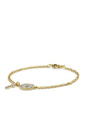 David Yurman Cable Collectibles Pave Lock & Key Charm Bracelet With Diamonds In Gold