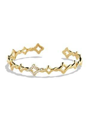 David Yurman Venetian Quatrefoil Cuff Bracelet With Diamonds In Gold